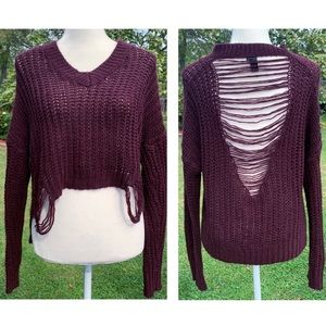 Windsor chunky knit distressed maroon sweater L